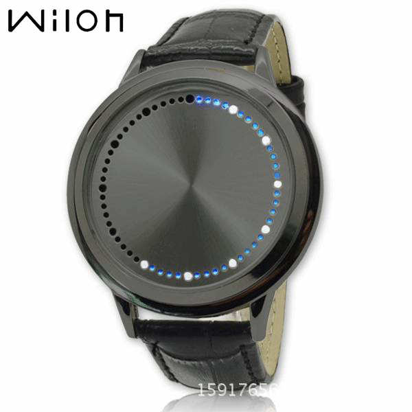2018 Fashion Men and women Blue LED Binary Touch Screen Watch Genuine Leather Wr