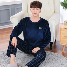 838b184a38 Casual Plaid Flannel Pajama Sets for Men 2018 Winter Long Sleeve Thick Warm  Coral Velvet Pyjama Male Homewear Loungewear Clothes