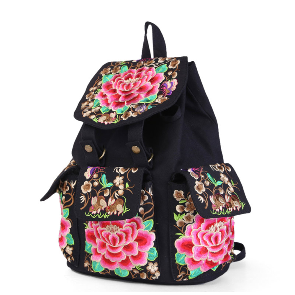 Retro National characteristicswomen embroidered ethnic students travel wind restoring ancient ways female canvas bags backpacks short boots woman the fall of 2017 a new restoring ancient ways british wind thick boots bottom students with martin boots