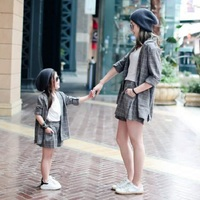 Mother Daughter Sets Blouse Full Sleeve Clothes Family Matching Clothing Gray Plaid Shirts for Mom Mommy S M L Girl 3T 4T To 10T