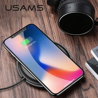 USAMS Qi Wireless Charger For iPhone X MAX 8 Samsung S9 S8 Note 8 Xiaomi Charger Wireless for iPhone XS XR Wireless Charging Pad