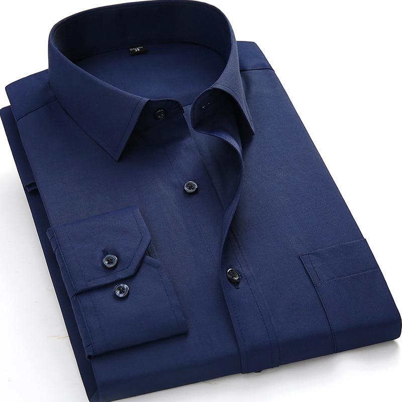 Plus Large Size 8XL 7XL 6XL 5XL Mens Business Casual Long Sleeved Shirt Classic White Black Dark Blue Male Social Dress Shirts 15