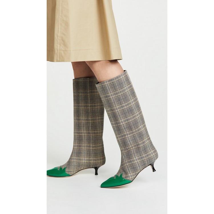 Knie Ferse Stoff Frau Hahnentritt As Show Mode Schuhe Spitz Laufsteg Mischfarbe Zeigen Stiefel Sexy Karierten Dünn Hohe fEPPgq