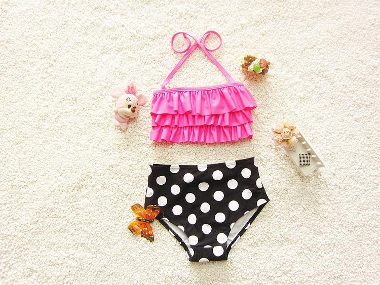 2017 Filles 2 piecess maillots de bain Rose Pola Dot Enfants Mignon Maillots De Bain beachwear maillot de bain 5 pcs/lot dans Maillots de bain de Mère et Enfants