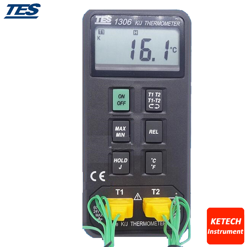 TES1306 Digital Auto Ranging K/J Dual Channels Thermometer mary tes w15102142288