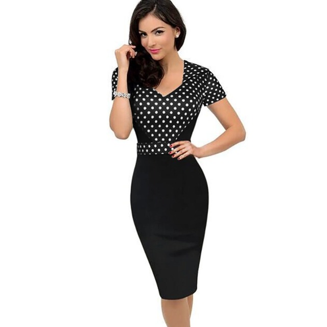 Neue Ankunft Sommer Kleidung Damen Büro Elegante Arbeit OL Kleid ...