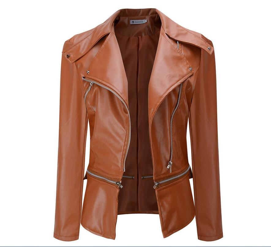 The new oblique zipper women's   leather   jacket hot autumn fashion Slim short paragraph motorcycle jacket women   leather   jacket
