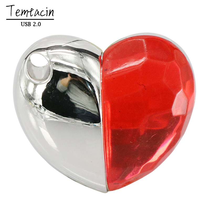 Crystal Heart Flash Memory Stick PenDrive գրիչ Drive 4GB 8GB 16 - Արտաքին պահեստավորման սարքեր - Լուսանկար 2