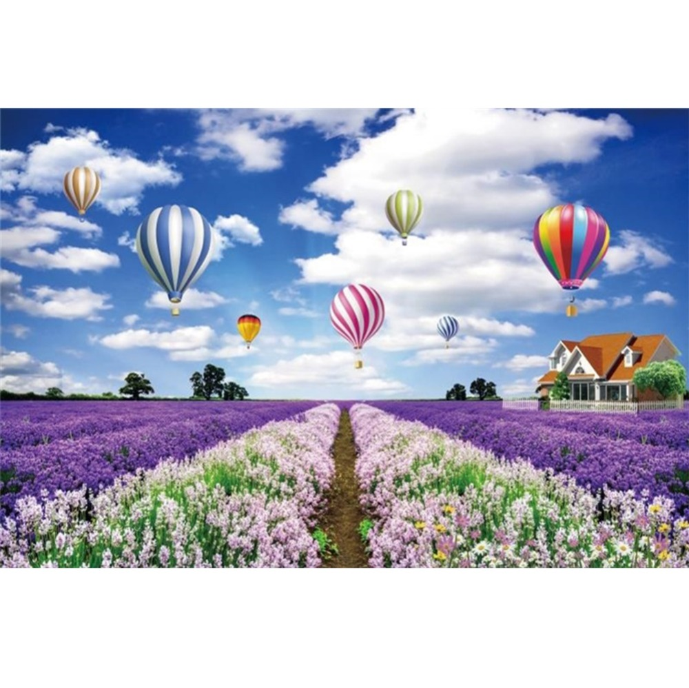 Laeacco Flowers Sea Provence Hot Air Balloons Blue Sky Cloud Scenic Photography Backdrops Photo Backgrounds For Photo Studio in Background from Consumer Electronics