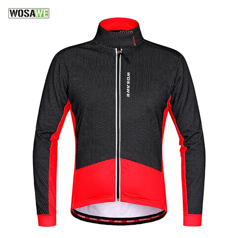WOSAWE hiver thermique polaire coupe-vent à manches longues cyclisme Jersey vêtements porter des vestes de cyclisme réfléchissantes