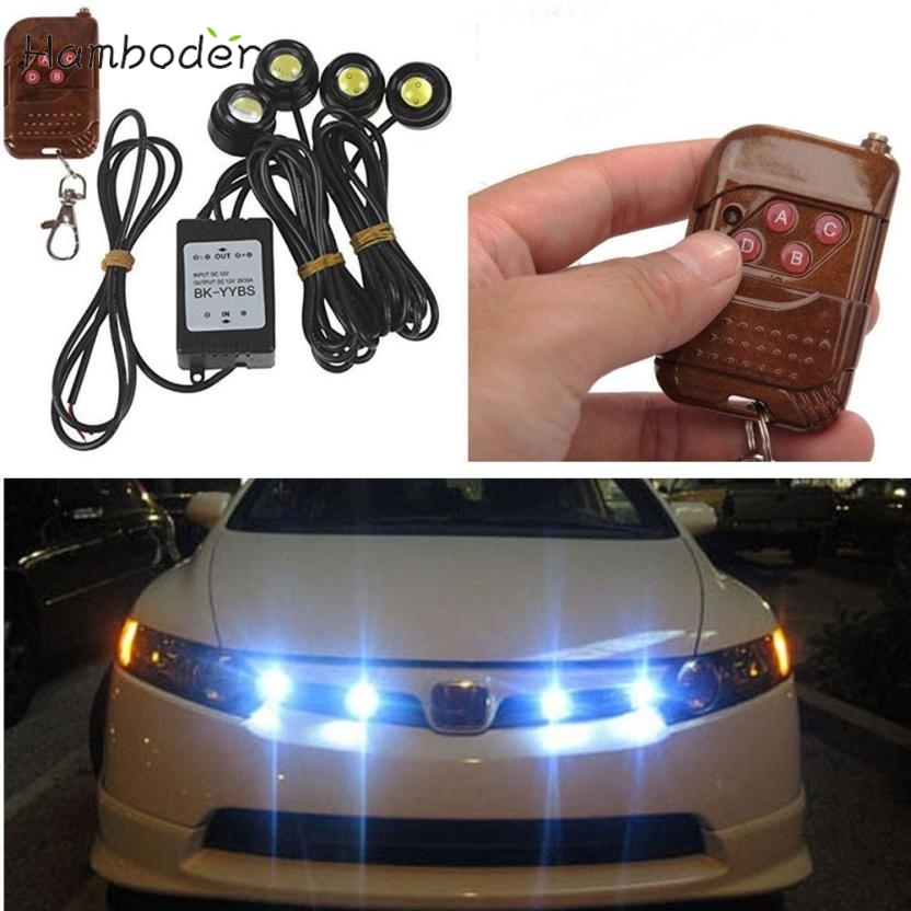 MA 14 Hot Selling Fast Shipping LED lighting 4in1 12V Hawkeye LED Car Emergency Strobe Lights DRL Wireless Remote Control Kit