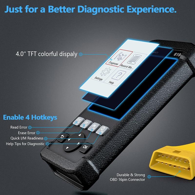 Crash Data Car Diagnostic CR619 OBD2 Automotive Scanner For ABS SRS Airbag 1