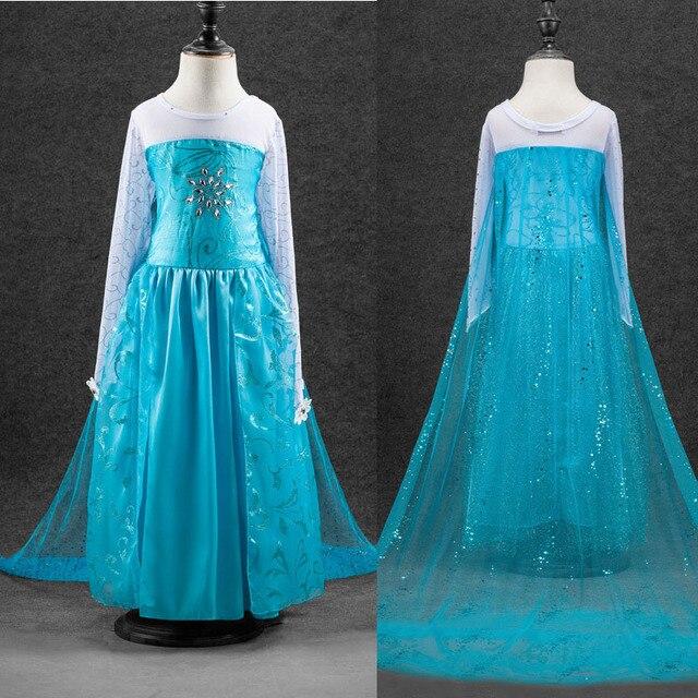 Высокое качество Elsa анна девушки принцесса детей платья ну вечеринку дети фантазия Vestidos младенцев платья младенца пользовательские платья