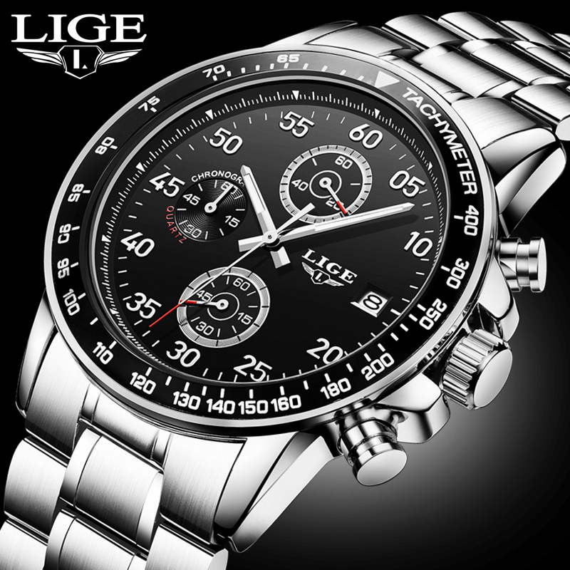 LIGE Waterproof Sport Clock Mens Watches Top Brand Luxury Quartz Watch Men Casual Full Steel Business Watch Relogio Masculino lige mens watches top brand luxury man fashion business quartz watch men sport full steel waterproof clock erkek kol saati box