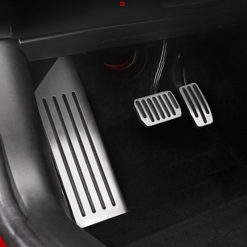 In lega di alluminio Pedale Del Piede Per Tesla Modello 3 Acceleratore Gas Carburante Pedale Del Freno Resto Pedale Pad Mats Accessori di Copertura Auto styling