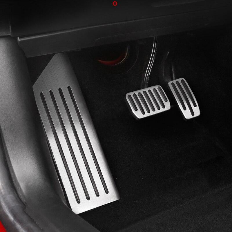 Liga de alumínio pedal para tesla modelo 3 acelerador gás combustível freio pedal resto almofadas esteiras capa acessórios do carro estilo