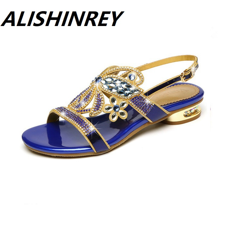 ALISHINREY Women Sandals High heeled Shoes Woman Fashion Rhinestone Buckle Strap Genuine Leather Women s Shoes