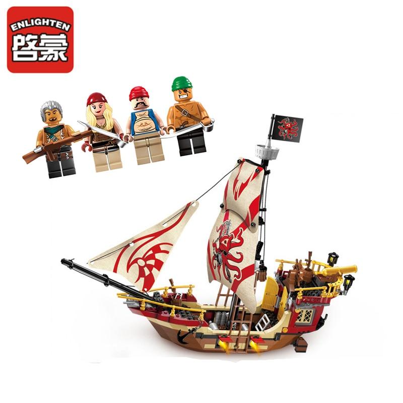 Enlighten 1311 368pcs Enlighten pirates ship Marauder building blocks Kids Educational Bricks Toys Brinquedos Hobbies подвесной светильник la lampada 1311 l 1311 3 02