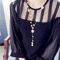 Trébol de la manera Perlas de Cadena Larga de La Borla de la Joyería Collar de Perlas Simuladas Collares y Colgantes para Las Mujeres Bijoux Collier Femme