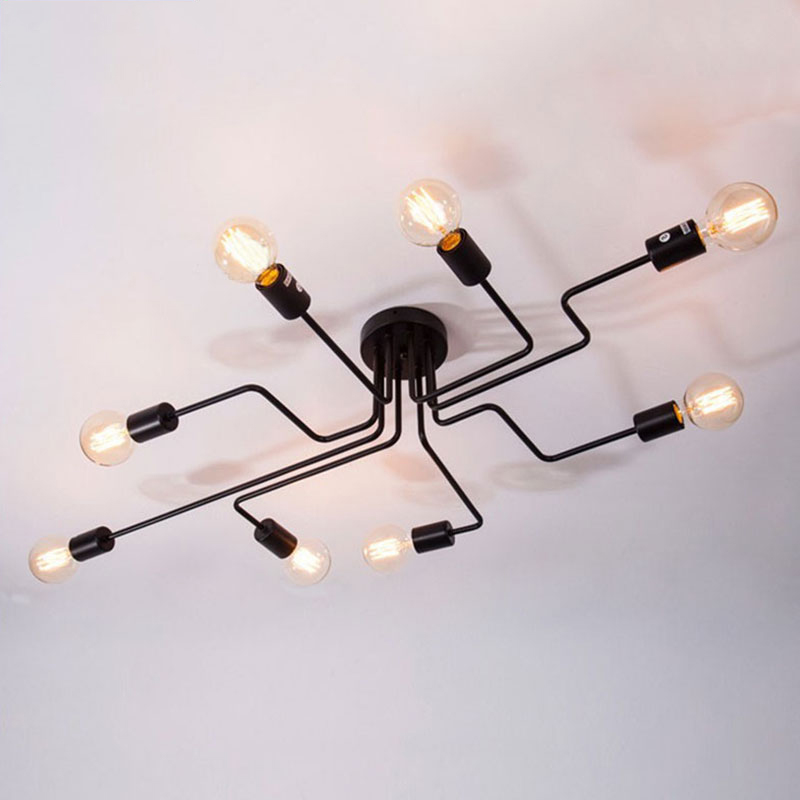 DAR 4 6 Light Retro Wrought Iron Ceiling Lights Bedroom Dining Room Vintage Black Ceiling Lamp DAR 4/6 Light Retro Wrought Iron Ceiling Lights Bedroom/Dining Room Vintage Black Ceiling Lamp Fixture E27 Lustres