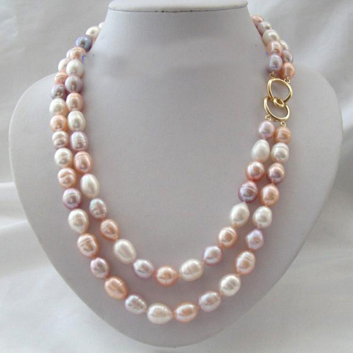 Super Genuine Pearl Jewellery,2 Rows 10-13mm Big Size Rice White Pink Color Freshwater Cultured Pearl Necklace,New Free Shipping цена и фото