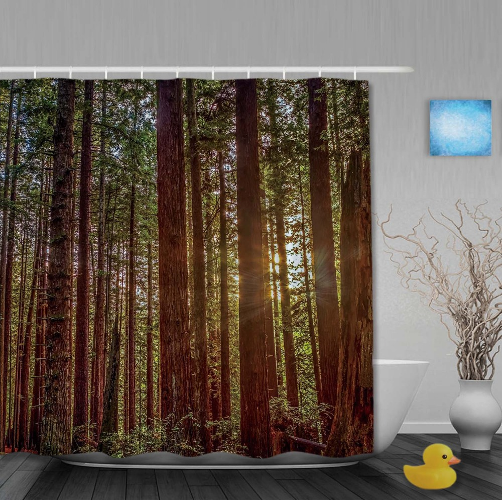 Custom Sitting Sun In The Forest Green Color Shower Curtains Anti Bacterial  High Quality For Sale With Hooks Bathroom Curtain In Shower Curtains From  Home ...