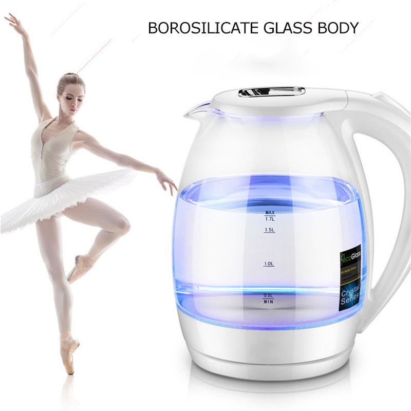 1.7L Fast Boil Electric Water Kettle Pot Health Preserving Tea Pot Tea Coffee Kettle High Borosilicate Glass Kettle цены онлайн