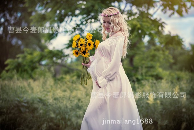 Hot Sale 2Pcs Maternity Photography Props Chiffon knit White Pregnant Women Dress Maternity photo shoot long dress hot sale hot sale car seat belts certificate of design patent seat belt for pregnant women care belly belt drive maternity saf