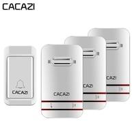 CACAZI Waterproof Self Powered Intelligent Wireless Doorbell No Battery LED Light Door Bell EU US UK Plug 38 Chimes 3 Volume