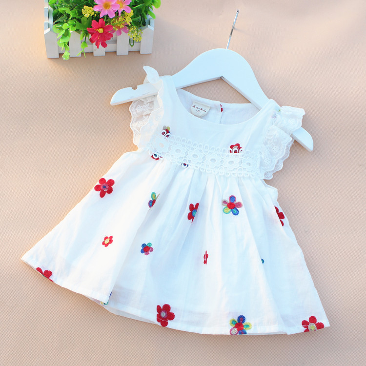 2016 summer cotton newborn baby dress printed baby girl Strawberry sundress sleeveless baby girl clothes bows princess dress kid pink floral towels