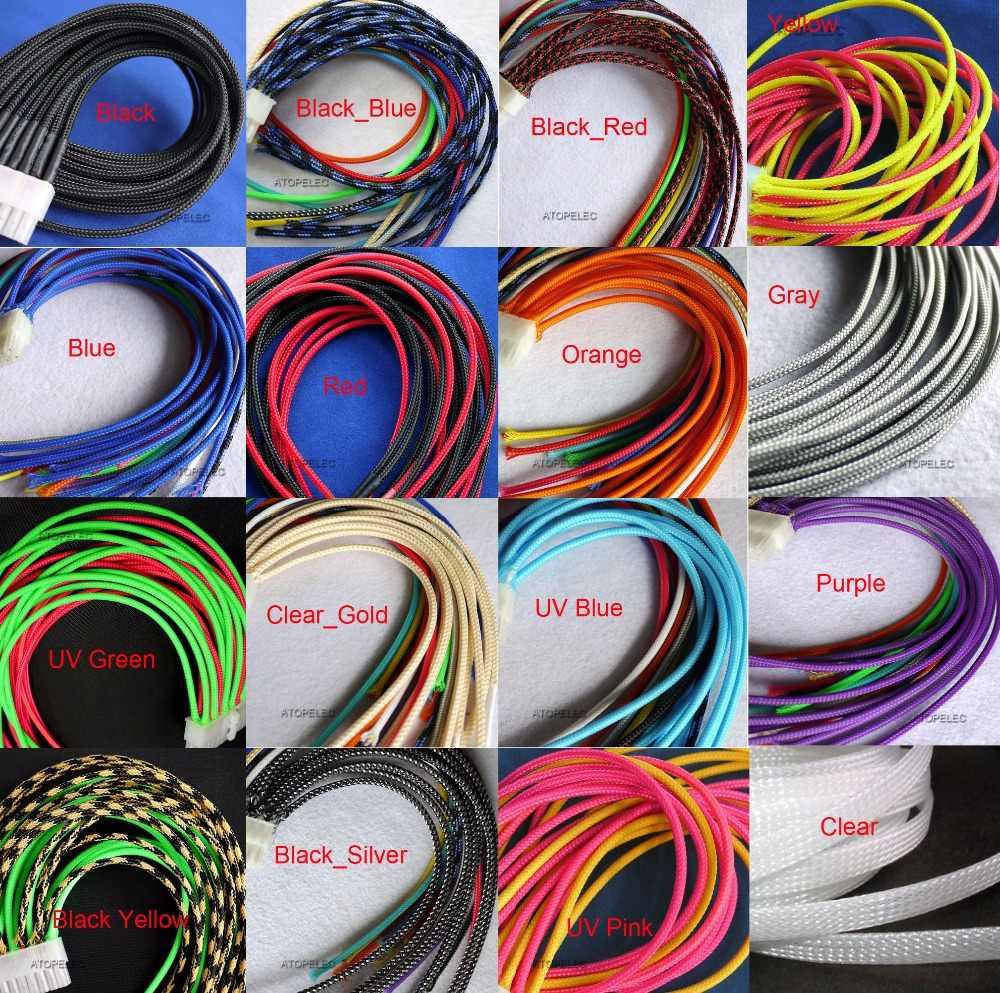 """3 мм в ширину 1/8 """"плотный Плетеный ПЭТ расширяемый рукав оболочка для кабеля черный/красный/оранжевый/желтый/зеленый/синий/фиолетовый/серый/белый/прозрачный"""