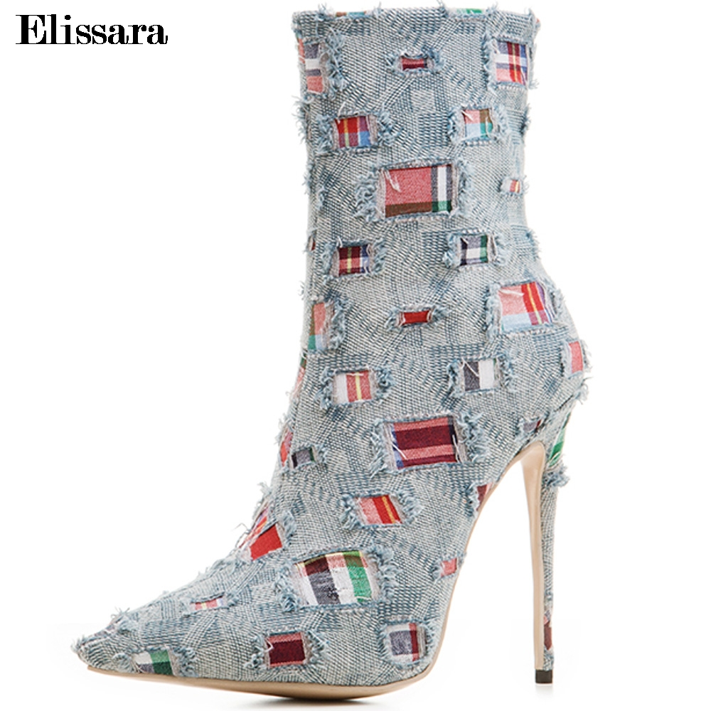 Elissara Women Ankle Boots Women High Heels Boots Ladies Zip High Quality Denim Pointed Toe Shoes Plus Size 33-43 new 2017 spring summer women shoes pointed toe high quality brand fashion womens flats ladies plus size 41 sweet flock t179