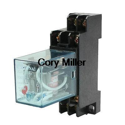 JQX-13F DIN Rail 220/240AC Coil DPDT 8P General Purpose Power Relay w Base цена и фото