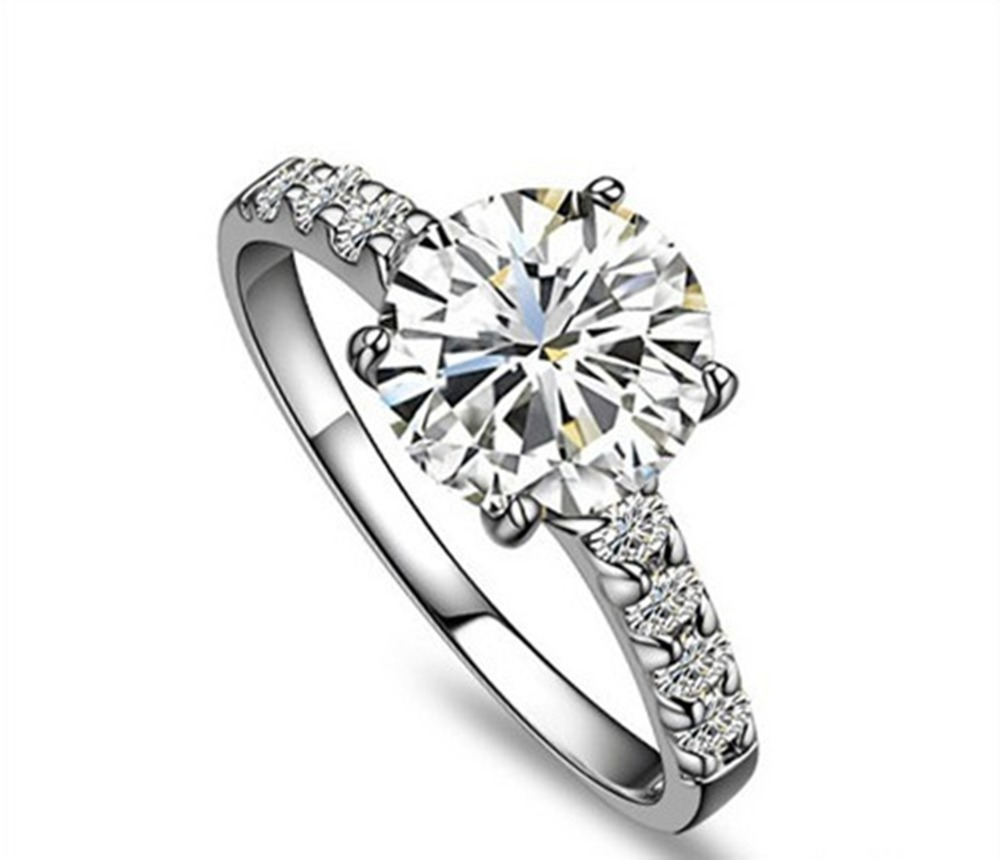 solid 585 white gold nice quality 1ct round cut synthetic diamonds women ring xmas valentine gift fulfilling engagement ring - Cute Wedding Rings