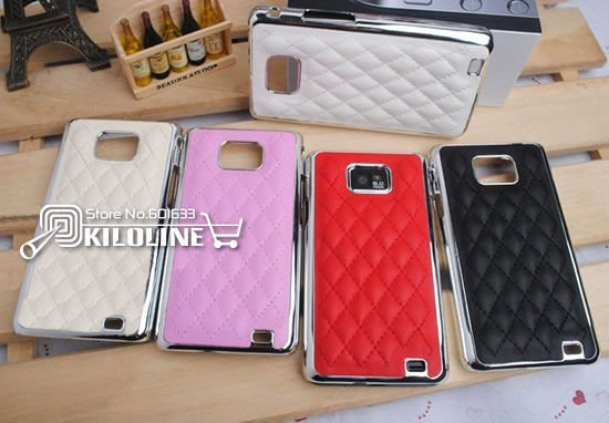 Luxury Stitched leather Back Case Cover For Samsung Galaxy S2 i9100 with retail packaging