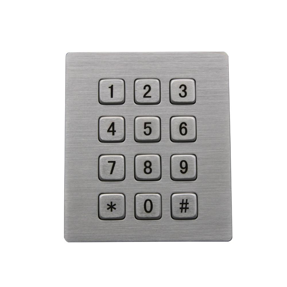 Mechanická robustní průmyslová klávesnice s 12 klíči IP65 3x4 Kiosk Kovová maticová klávesnice Nerezová ocel Kovová vodotěsná Slim