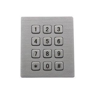 Mechanical Rugged Industrial Keyboard with 12 Keys IP65 3x4 Kiosk Metal Matrix Keypad Stainless Steel Metallic Waterproof Slim(China)