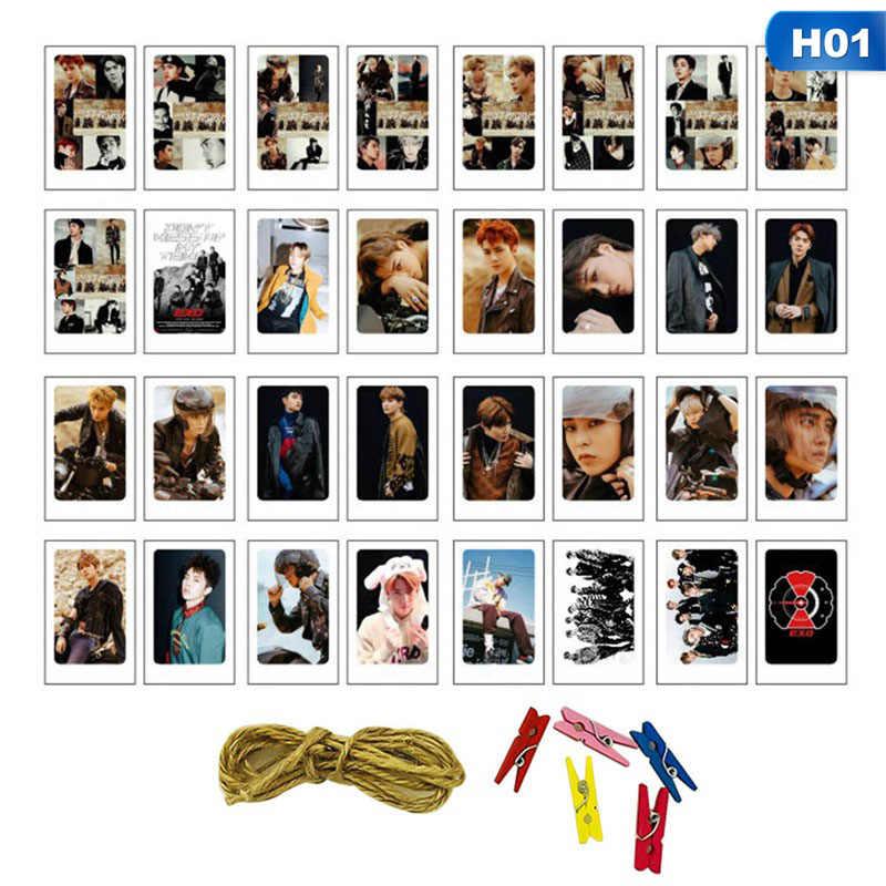 32 шт./компл. k-pop EXO два раза альбом Seventeen самодельная бумага Lomo карты фото плакат в виде карты фотокарты вентиляторы коллекция подарок