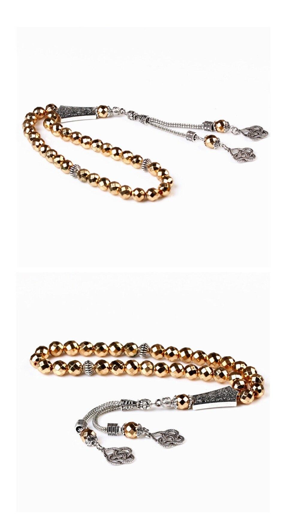 LOSHEREN New Arrival Gold Hematite Stone 33 Prayer beads Islamic Muslim Tasbih Rosary Misbaha bead for Famliy Friend Bracelets