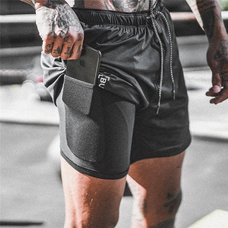 Gym Shorts Quick-Drying Double-Deck NEW Male 2-In-1 Men Men's
