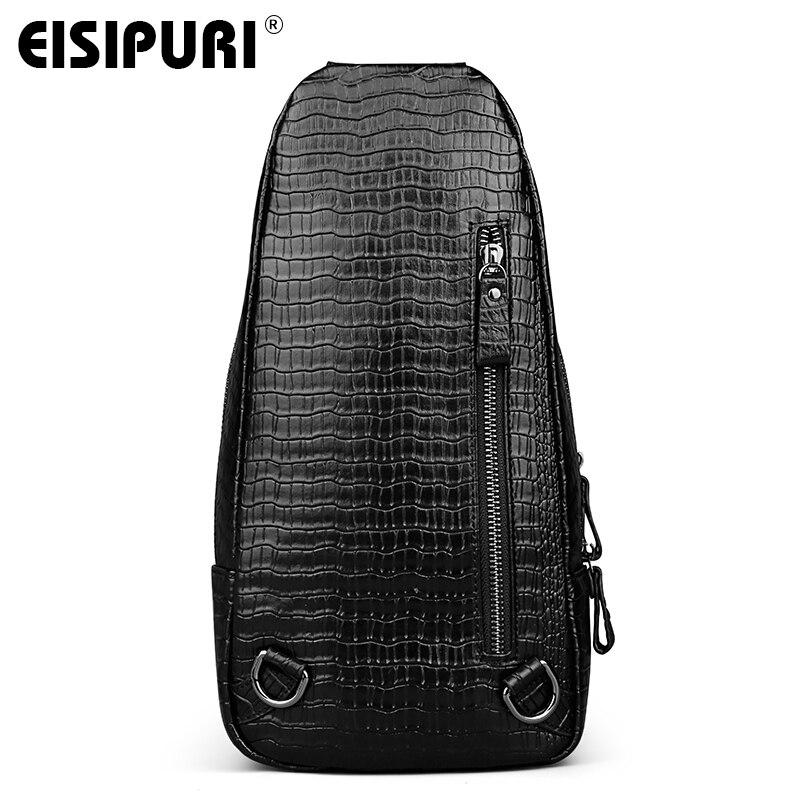 Eisipuri поступление натуральная кожа мужские сумки Известные бренды картины крокодила Мужской груди мешок деловые мужчины плечо Ba