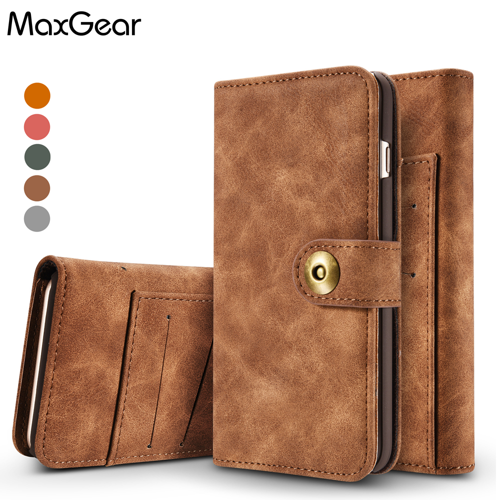 MaxGear Two in One Luxury Leather Magnetic Wallet Flip phone case for iPhone 6 6S 4