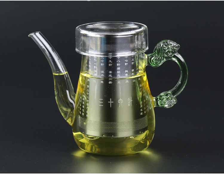 Long mouth heat resistant glass flower teapot with colored dragon shaped handle glass tea set exquisite