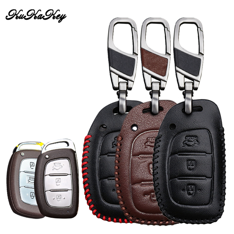KUKAKEY Genuine Leather Car Key Case For Hyundai i10 i20 i30 HB20 IX25 IX35 IX45 TUCSON Avante Key Cover Holder Car Accessories