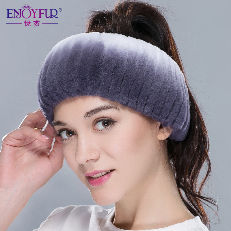 Winter Fur Headbands For Women Knitted Rex Rabbit Fur Scarf For Women Real Fur Head Wrap Ear Warmer Newest Fashion Hairband