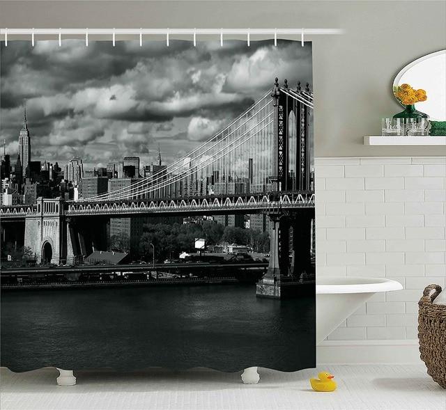 New York Shower Curtain Black And White Panorama Of New York City Manhattan  Bridge Photo Fabric