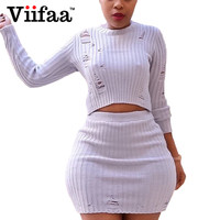 Viifaa Sexy Hole Dress Women Winter Sweater Dress White Two Piece Outfits Autumn Knitted Party Bodycon