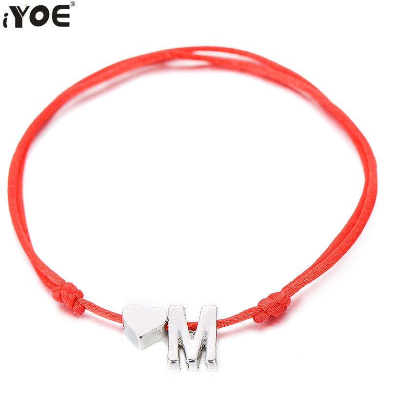IYOE Gold Silver Color Tiny Heart Initials Name Letter Bracelet For Women Men Kids Hand Braided Red Rope Bracelets Couple Gifts