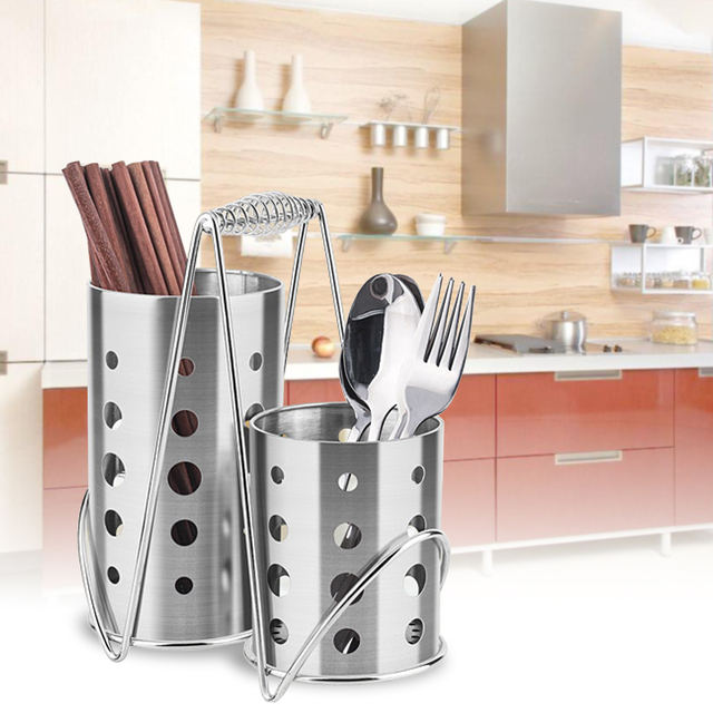 Kitchen Stainless Steel Chopsticks Tube Tableware Storage Rack Shovel Spoon  Bucket Knife Fork Dry Storage Box