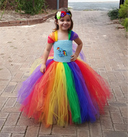 2 9 Years Children Halloween Birthday Party Clothes Multi Colors For Girl Christmas Cosplay Costume Rainbow